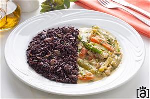 Legumes Thai e Arroz Negro com Legumes